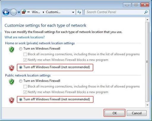 Matikan Windows Firewall
