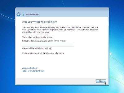 Ketikkan product key Windows 7