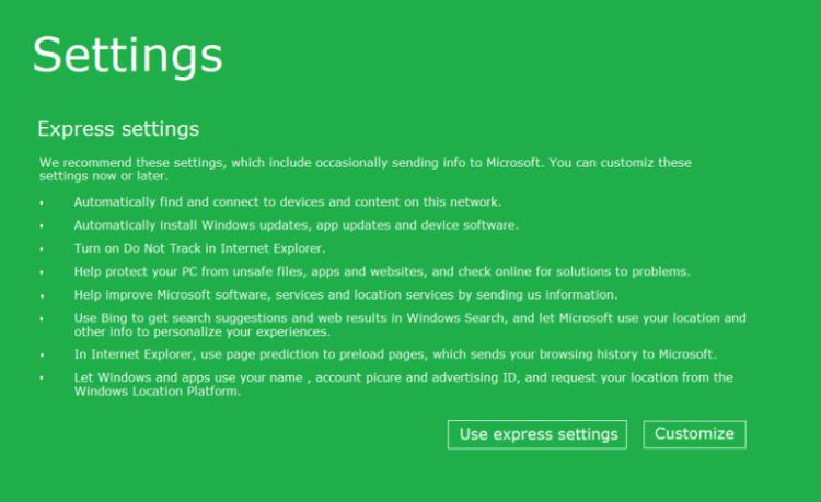 Memilih settings Windows