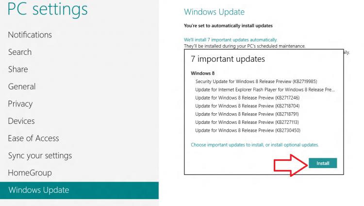 Pasang pembaruan Windows