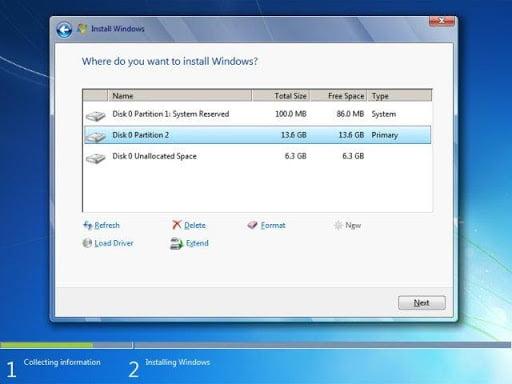 menentukan lokasi instalasi Windows 7